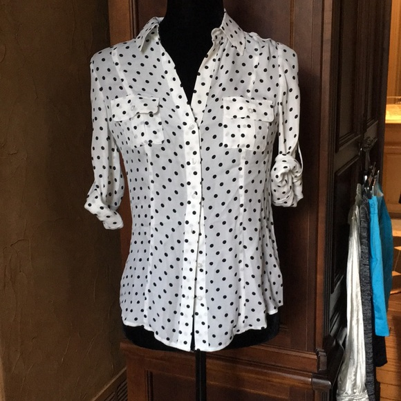 4db2a7f6248d2a WHBM silk polka dot button down. M 5aaee166c9fcdfc8791e018d. Other Tops you  may like. White House Black ...